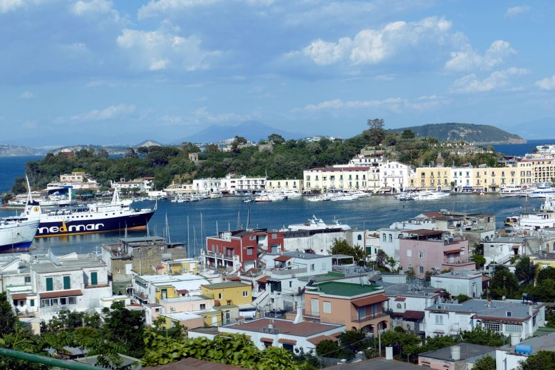 Ischia port with ferry from Naples