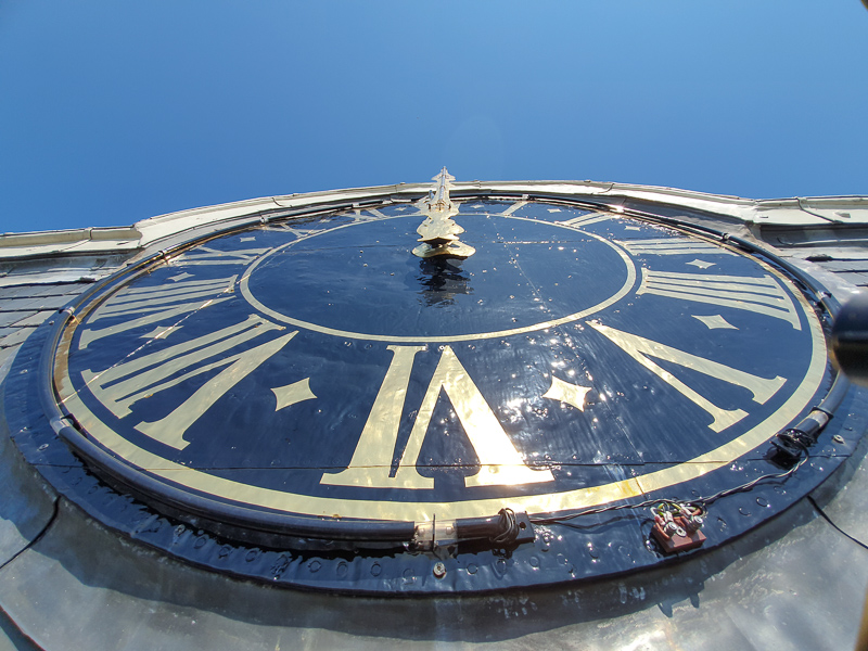 clock face on petrus tower in Woerden