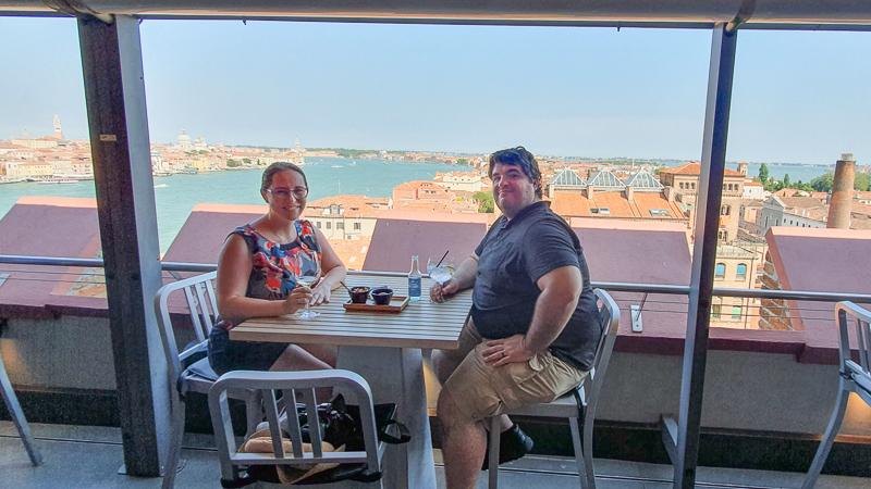 Sean and Jessica at the Hilton rooftop bar on Giudecca