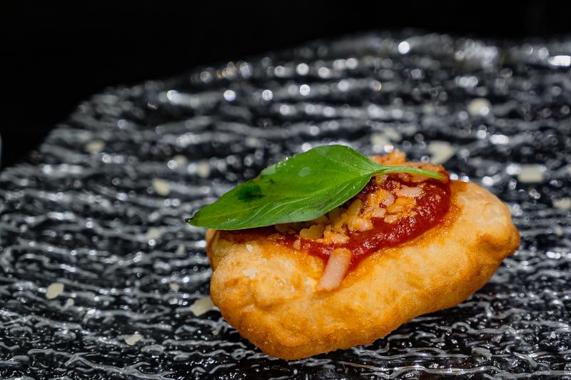 Pizza Fritta Montanara close up