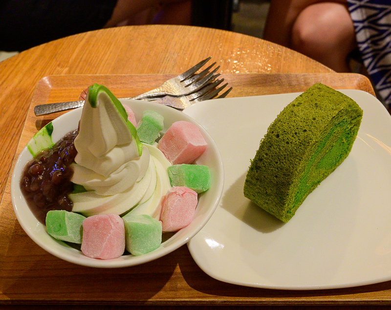 Matcha and vanilla soft serve
