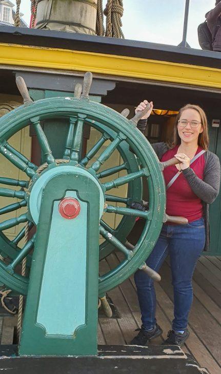 Jessica on a replica ship in Amsterdam