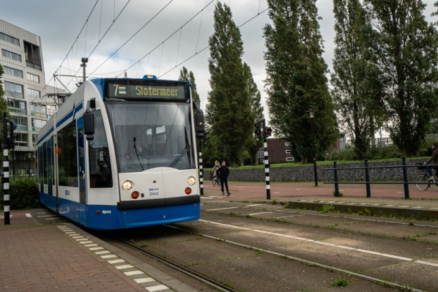 tram in Amsterdam Eastern Docklans