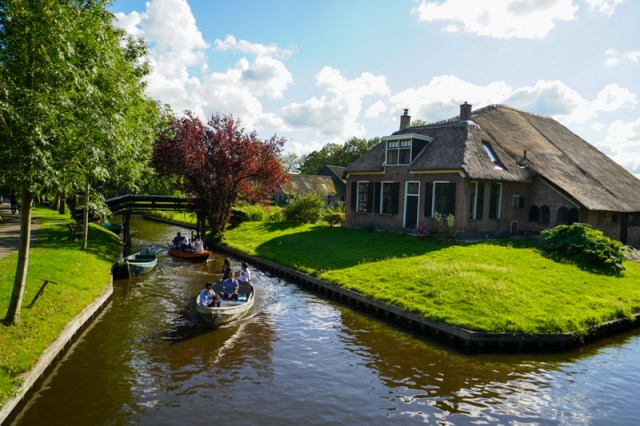 Boats on a canal in Giethoorn