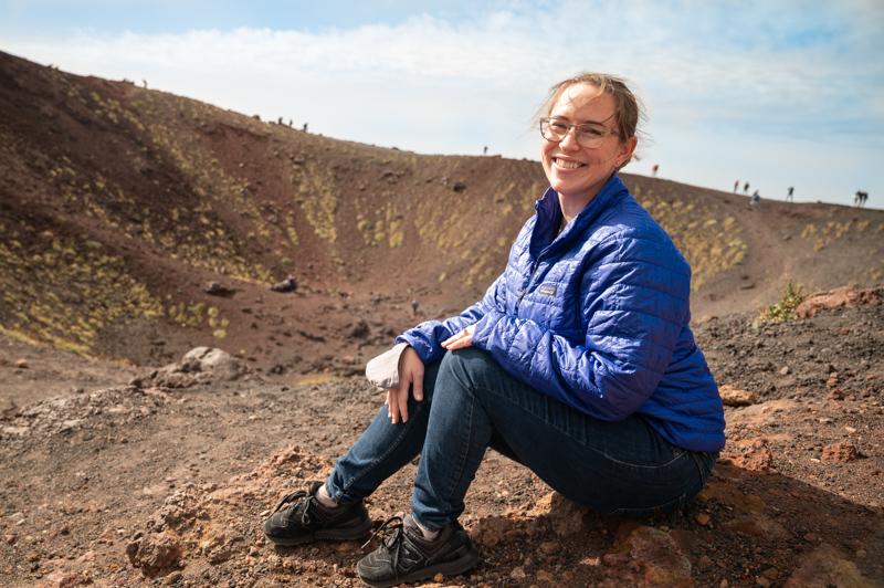 Jessica in Mt Etna Crater