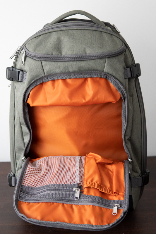 travel backpack front organizer