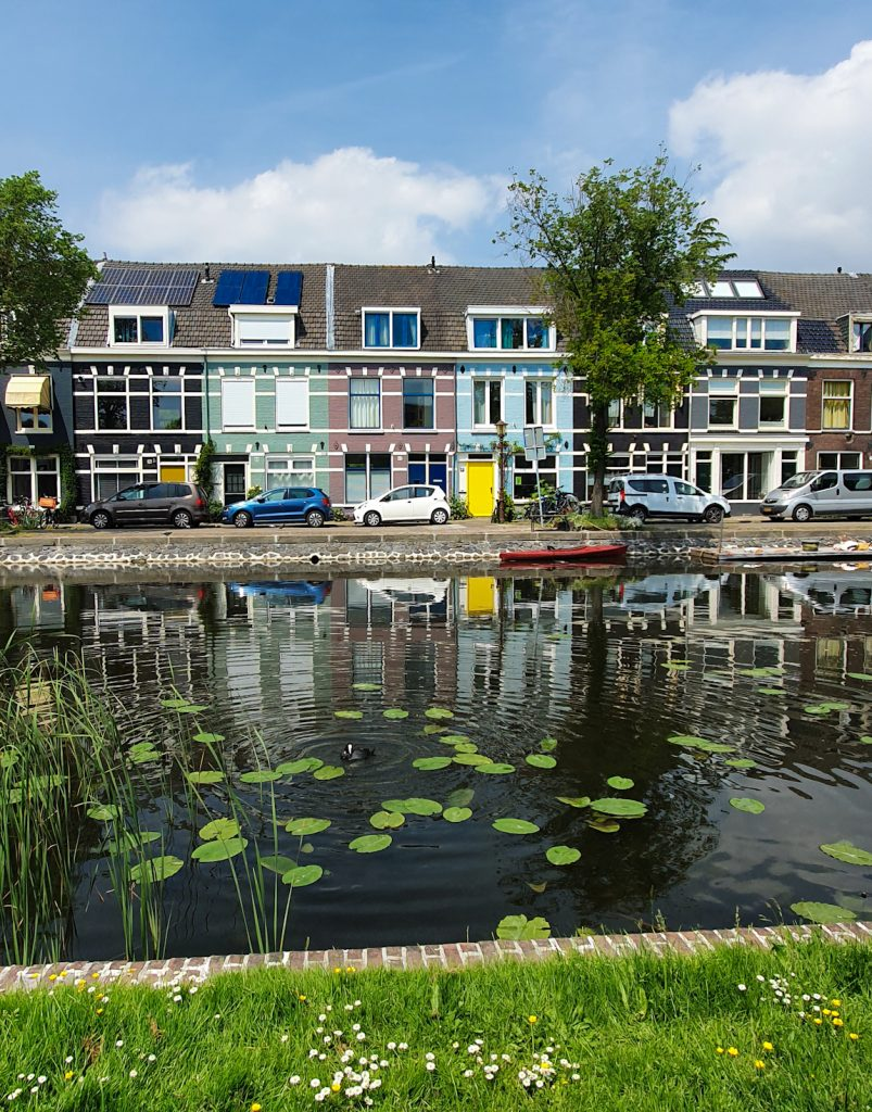 Foreground is green grass with canal behind it and colorful canalhouse in the background with blue sky and puffy clouds