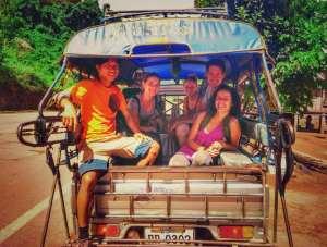 On the tuk-tuk, tour organized by Discovering Laos tour operator