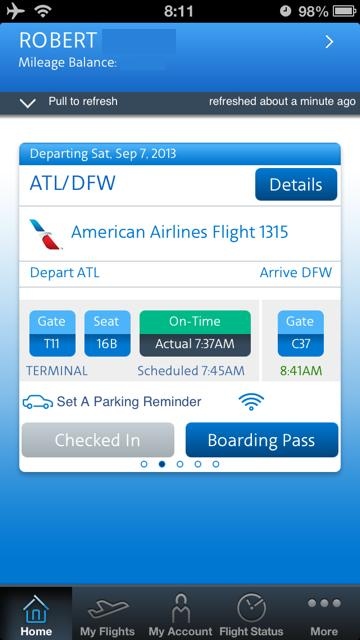 Live Flight Info from American App
