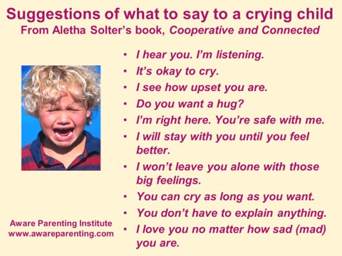 what to say to a crying child