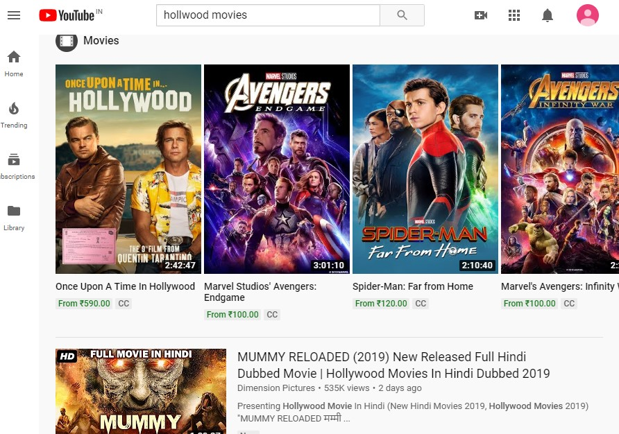 Youtube is one of the best source to stream movies like Fmovies legally