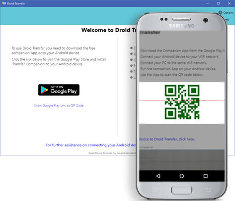 Droid Transfer's QR code to establish a wireless connection.