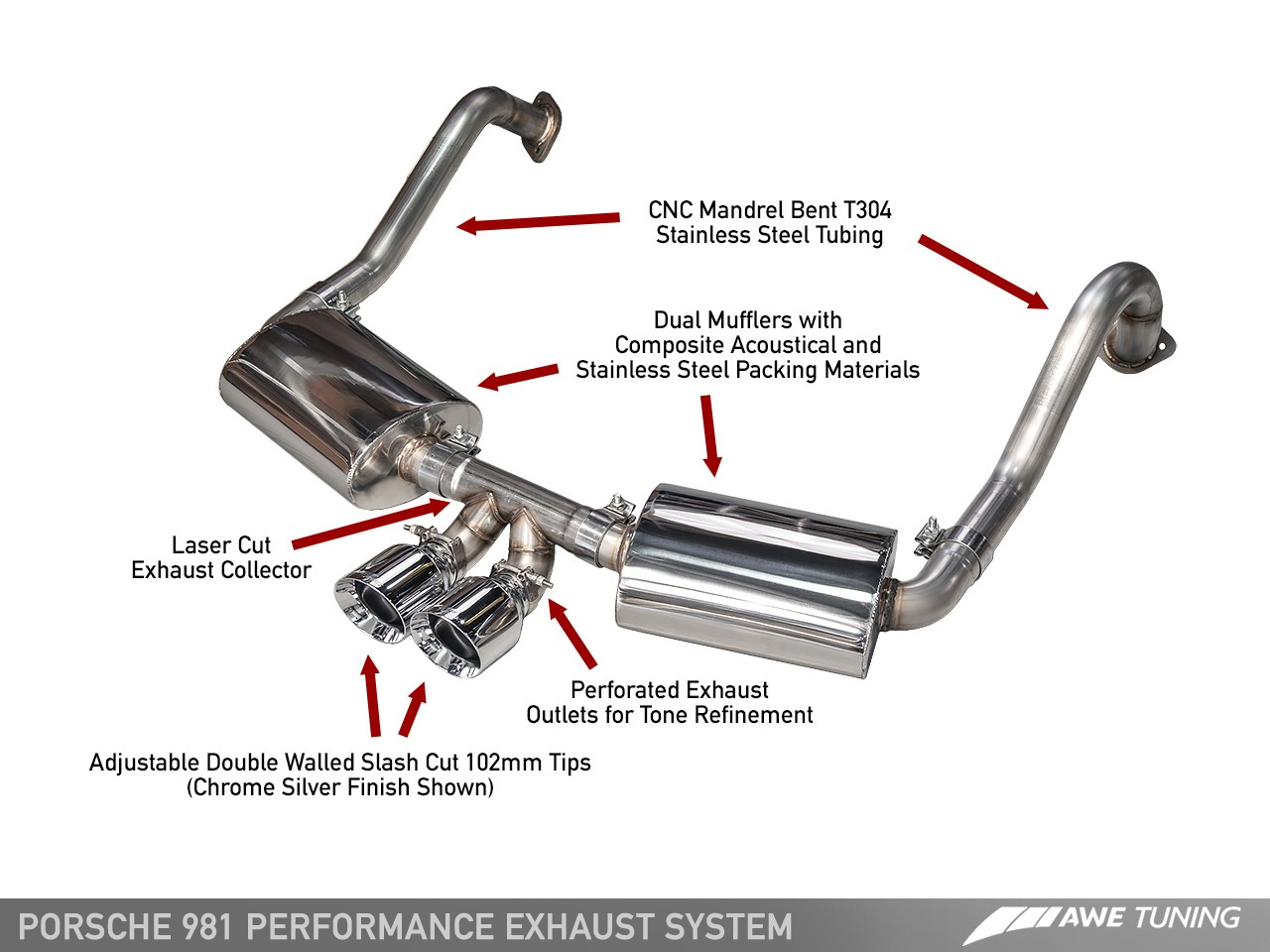 Porsche 981 Exhaust Assembled Diagram