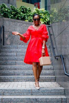 Fashion blogger wearing red wrap dress 2