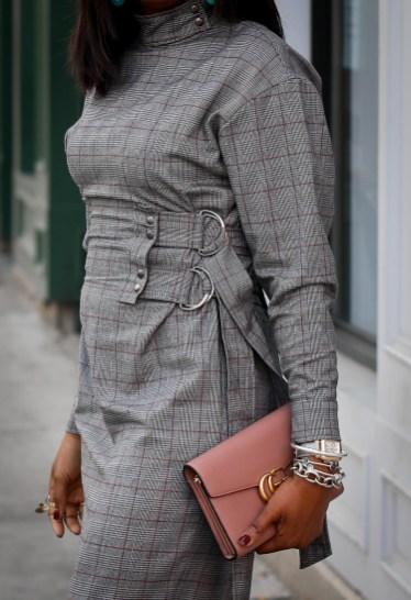 Long sleeve plaid dress. Fall fashion, Atlanta Blogger, Fashion trends, what to wear for fall-2