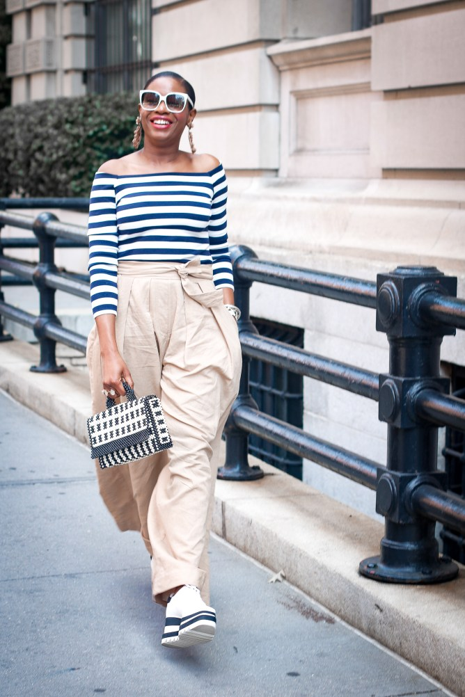 Off the shoulder stripe top and wide leg pants-19