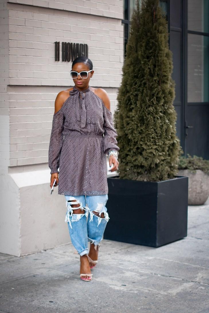 cold shoulder dress over jeans-5