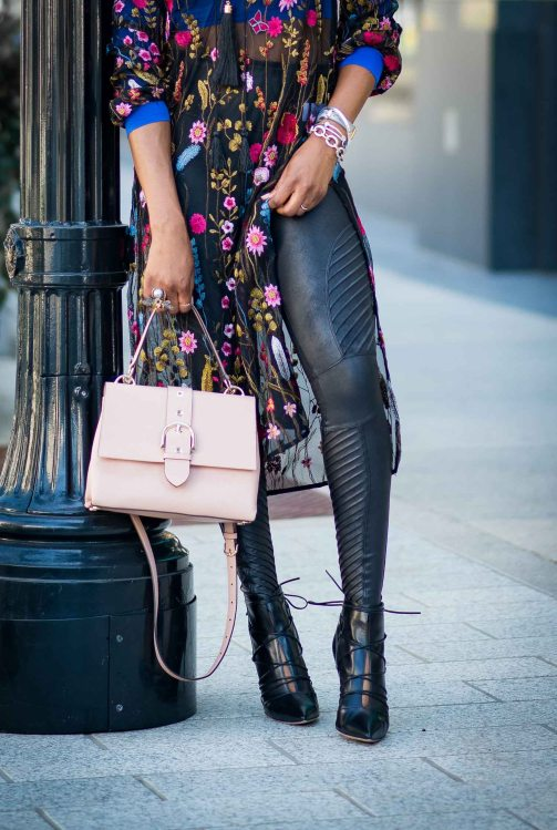 floral midi dress worn with leather leggings - holiday fashion -8