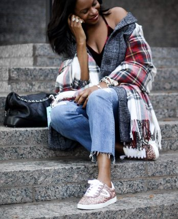Abercrombie and finch holiday outfit. Plaid coat and scarf7