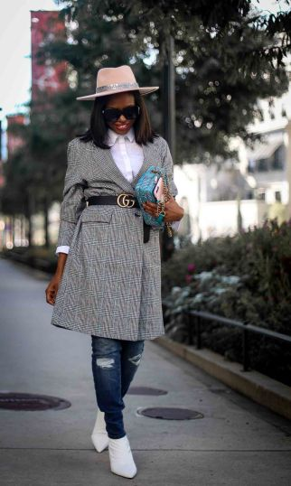 Plaid oversized jacket worn with skinny jeans and white booties worn by Atlanta fashion blogger-11
