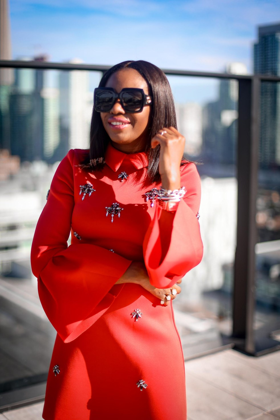 asos red holiday dress in scuba fabric worn in Toronto by Atlanta fashion blogger-12