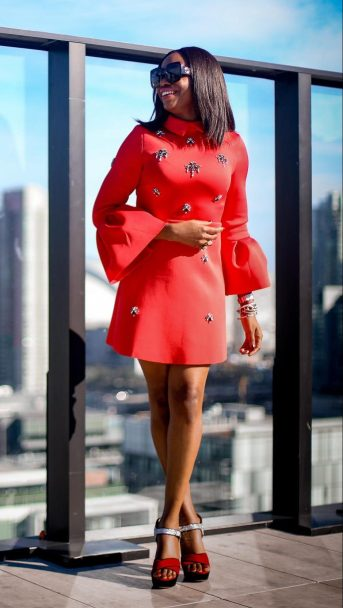 asos red holiday dress in scuba fabric worn in Toronto by Atlanta fashion blogger-8