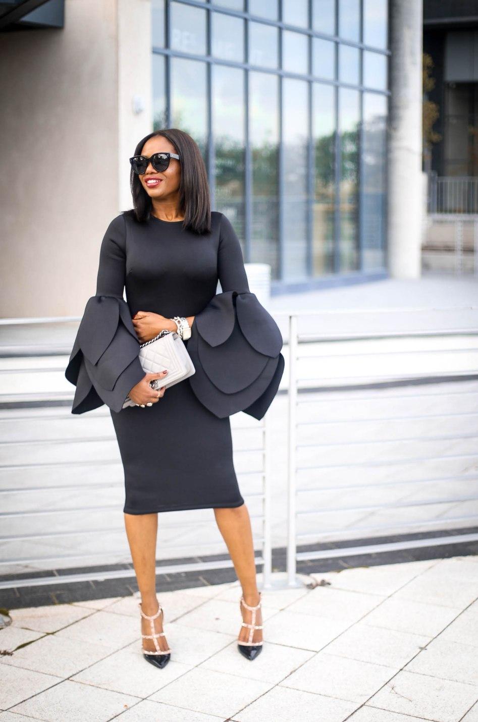 black scuba midi dress with bell sleeves wore by fashion blogger Atlanta blogger-2
