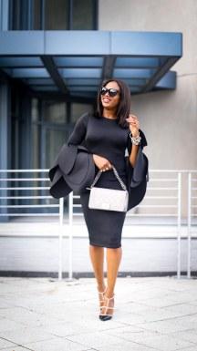 black scuba midi dress with bell sleeves wore by fashion blogger Atlanta blogger-6