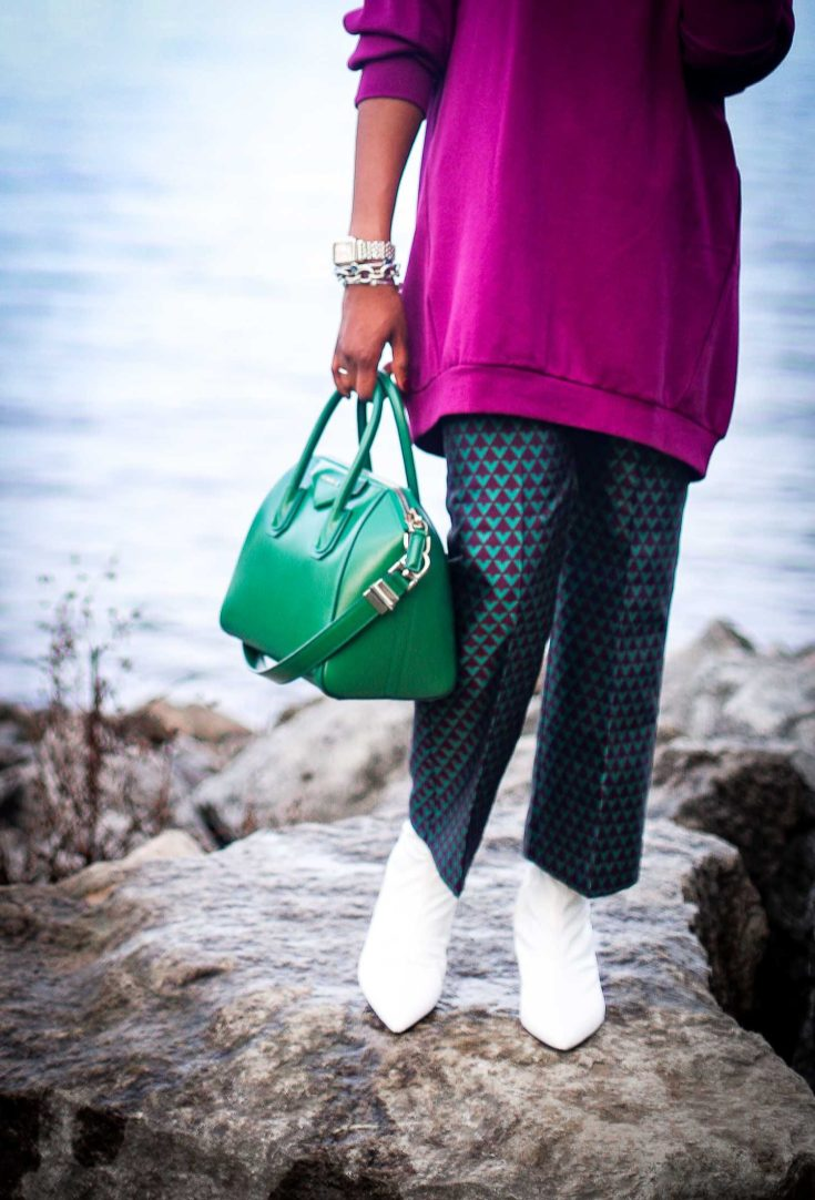 oversized sweater worn with jacquard crop pants and white booties by fashion blogger-2