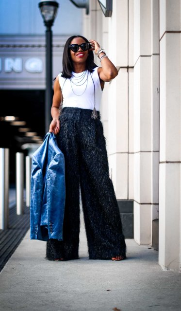 velvet jacket and wide leg pants for the holidays by brunello cucinelli worn by Atlanta blogger-12
