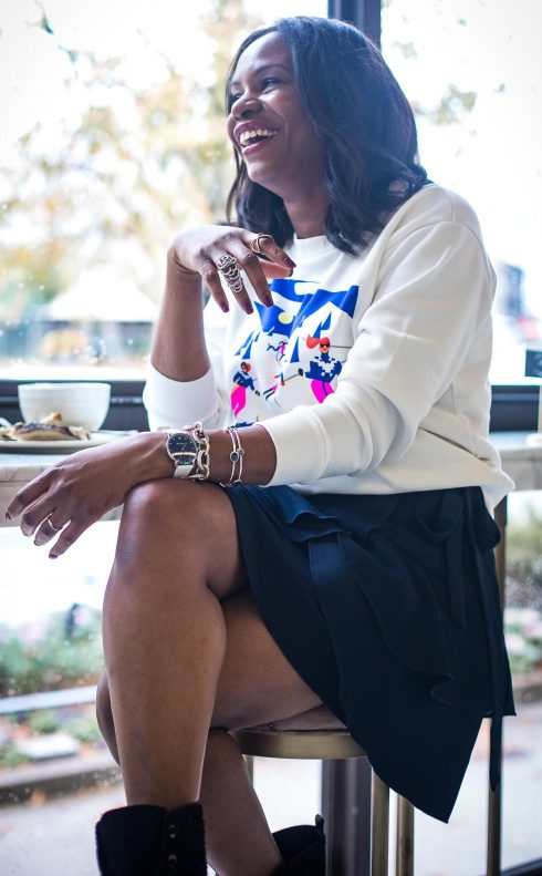 Atlanta fashion blogger wearing Mon Amie watch for the holidays J.crew sweatshirt and stuart weitizman booties -15