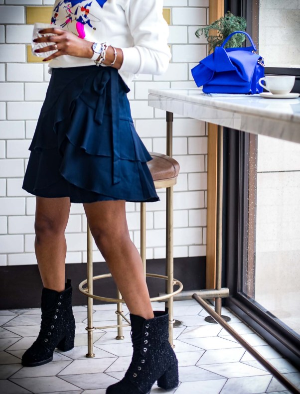 Atlanta fashion blogger wearing Mon Amie watch for the holidays J.crew sweatshirt and stuart weitizman booties -5