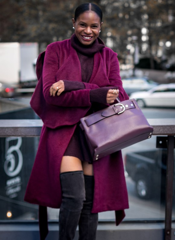 Atlanta fashion blogger wearing a burgundy coat an HM turtleneck burgundy sweater and OTK stuart weitizman booties -13