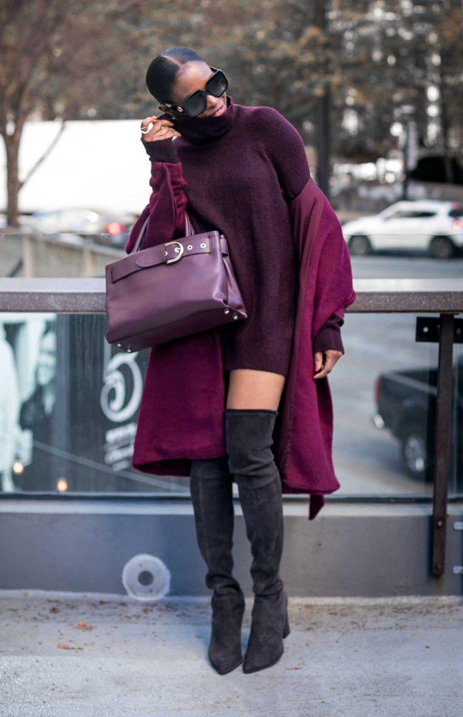 Atlanta fashion blogger wearing a burgundy coat an HM turtleneck burgundy sweater and OTK stuart weitizman booties -7