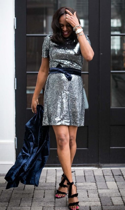 Atlanta fashion blogger wearing ann taylor sequin dress for New Year's Eve-5