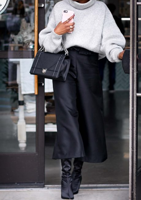 H&M grey chunky sweater worn with a black culottes by Atlanta style blogger and diorama bag-23