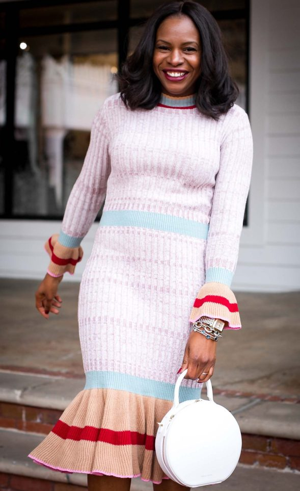 Midi sweater dress worn with valentino rockstud shoes and mansur gavriel circle bag by Atlanta fashion blogger-11