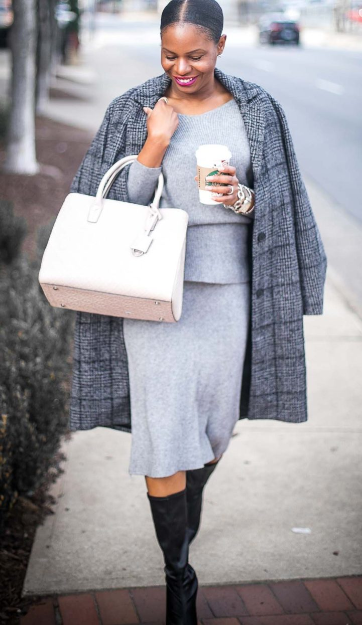Atlanta blogger wearing grey knit skirt set and fabric boots with henri bendel bag and plaid Abercrombie plaid coat-1-2