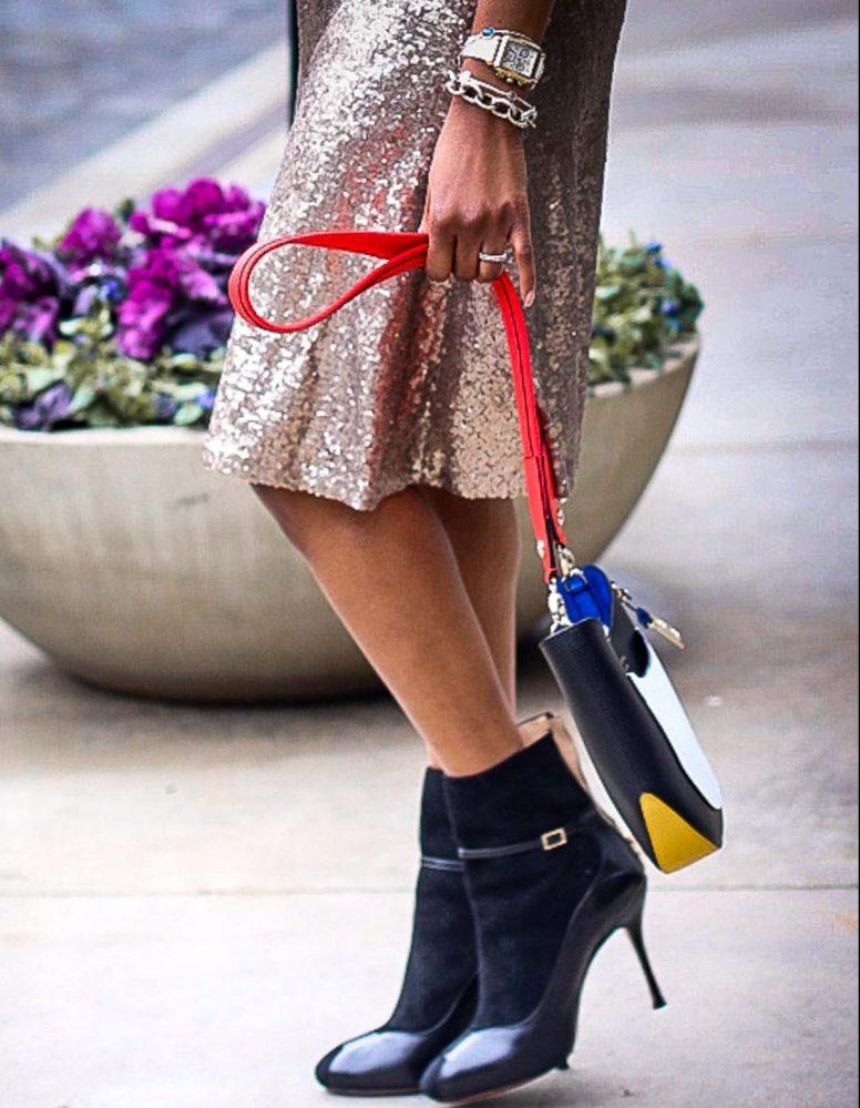 Atlanta fashion blogger wearing a j.crew plaid sweatshirt, sequin skirt, white gucci sunglasses and black high-heel booties-18