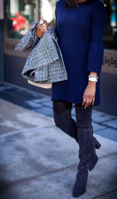 Atlanta fashion blogger wearing a navy knit bell-sleeve dress, stuart weitzman otk boots, plaid double-breast coat, henri bendel bag, and celine sunglasses-14