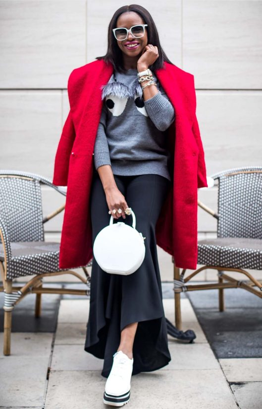 Atlanta fashion blogger wearing bell bottom pants from H&M, red coat and fur sweater-13