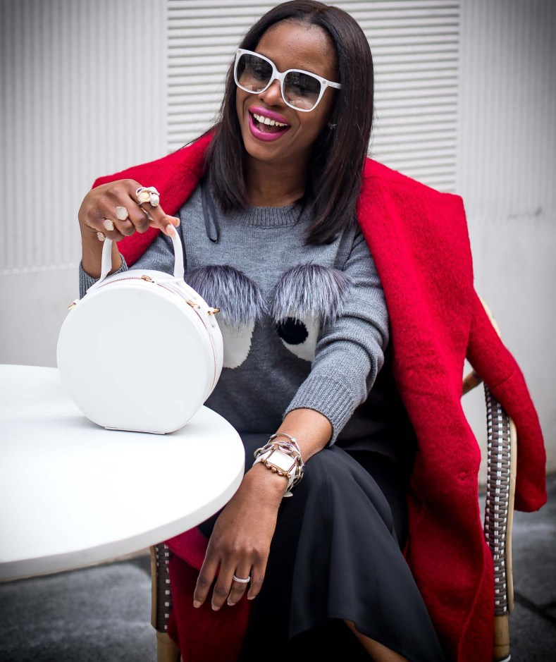 Atlanta fashion blogger wearing bell bottom pants from H&M, red coat and fur sweater-5