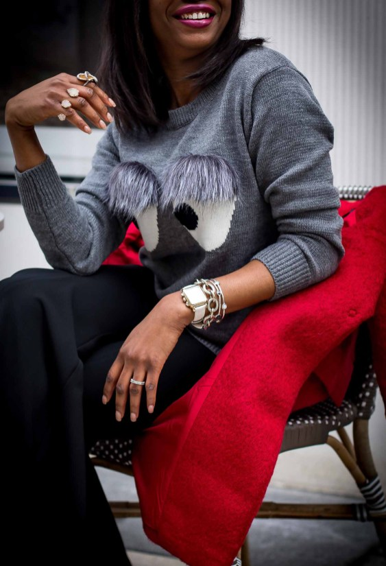 Atlanta fashion blogger wearing bell bottom pants from H&M, red coat and fur sweater-6