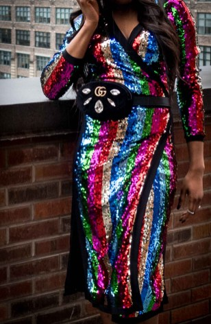 Fashion blogger wearing rainbow sequin dress during new york fashion week. sequin dress worn with berret, and alexandre birman sandals-13