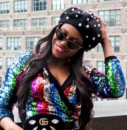 Fashion blogger wearing rainbow sequin dress during new york fashion week. sequin dress worn with berret, and alexandre birman sandals-14