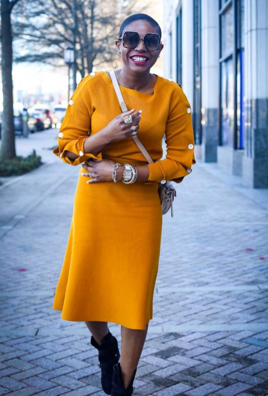 Yellow knit set worn with brown booties and proenza schouler PS1 bag and gucci sunglasses. worn by Atlanta fashion and lifestyle blogger-7