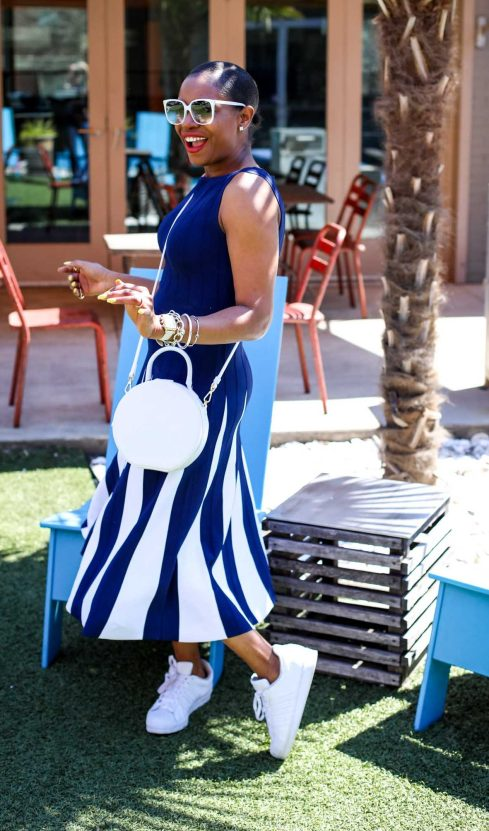 Atlanta fashion blogger wearing navy and white New York and Co. midi dress by Eva Mendes worn with white Manolo BB pumps and white circle bag-20