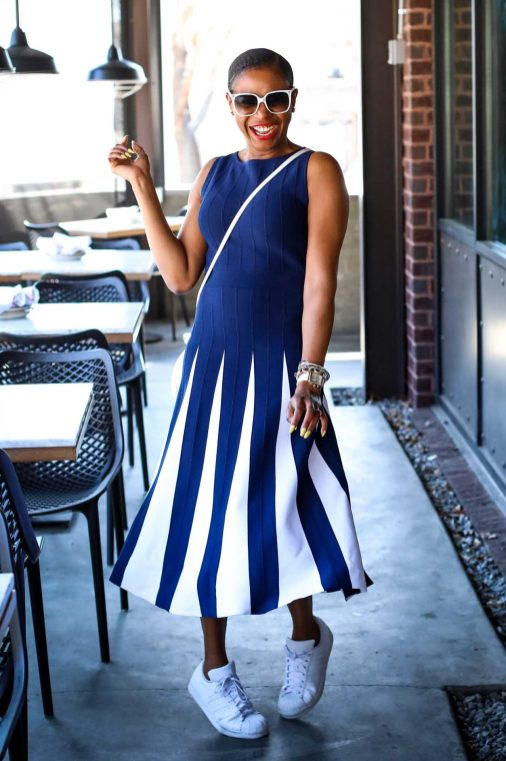 Atlanta fashion blogger wearing navy and white New York and Co. midi dress by Eva Mendes worn with white Manolo BB pumps and white circle bag-8