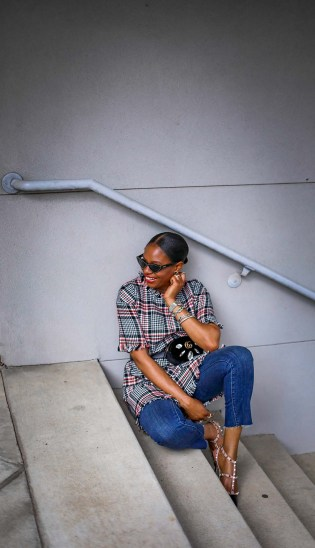 Tweed dress worn over jeans with Valentino rockstuds and ponted cat-eye sunglasses by Atlanta blogger_-10