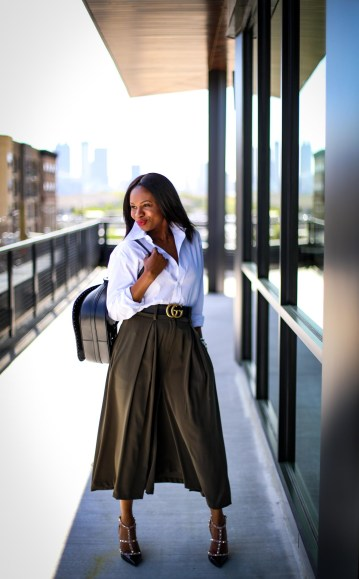 Atlanta fashion blogger wearing Gabrielle union for New York and Compnay spring green culottes, a white mens shirt, Henri Bendel backpack, valentino rockstud pumps and michele watch-13